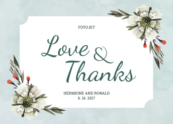 Floral Wedding Thank You Card Template