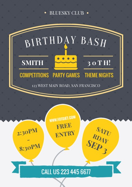 Balloon Birthday Party Flyer Template