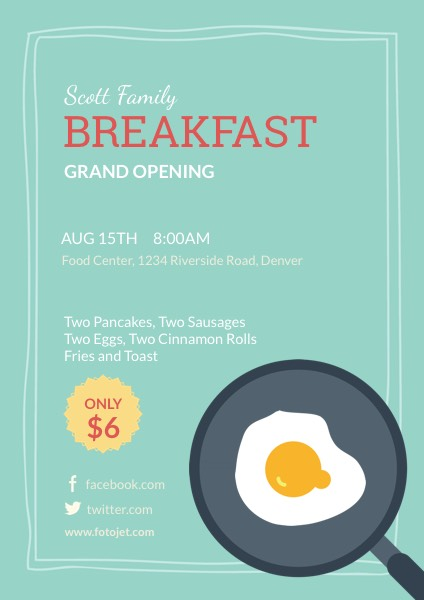 Breakfast Restaurant Grand Opening Flyer Template