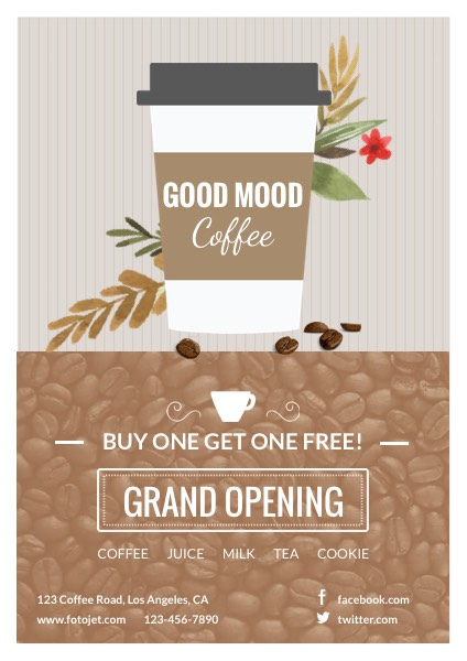 Cafe Grand Opening Flyer Template Template  Fotojet
