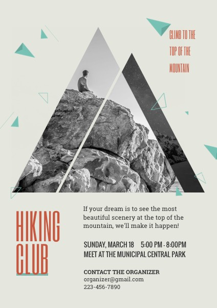 hiking club recruitment flyer template