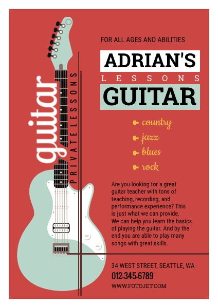 Guitar Lesson Promotional Flyer Design Template Template Fotojet