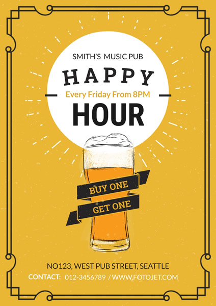 '.Yellow Happy Hour Flyer Template.'