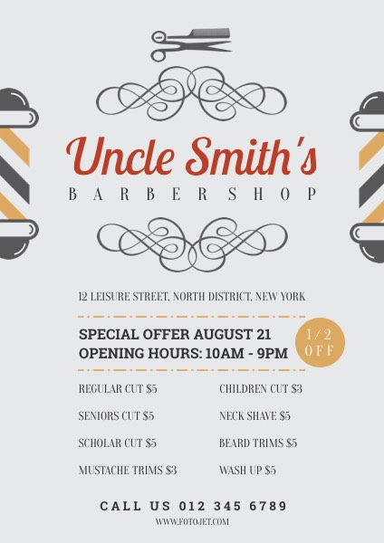 Symmetrical Barber Shop Promotional Flyer Template