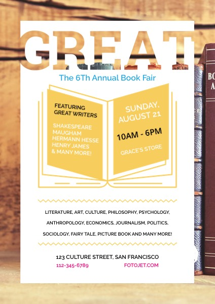 Annual Book Fair Event Flyer Template Template | FotoJet