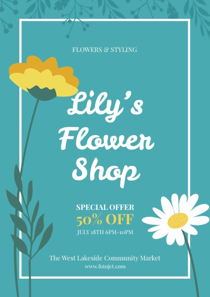 Flower Shop Promotional Flyer Template Template  Fotojet