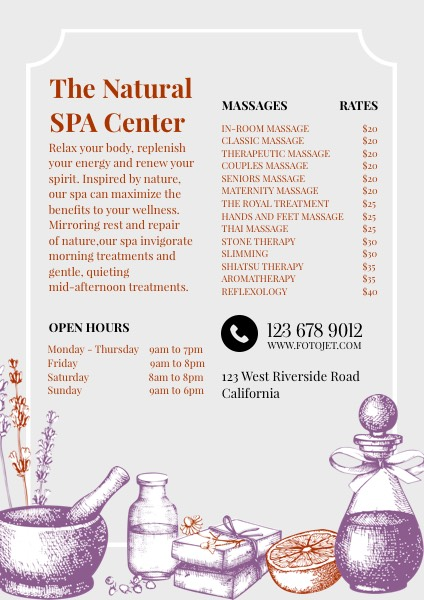 '.Spa Center Promotional Flyer Template.'