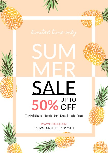 Clothes Shop Summer Seasonal Sales Flyer Template