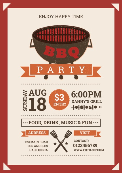 Happy Bbq Party Flyer Template Template | Fotojet