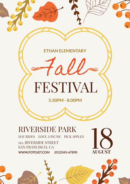 Illustrated Fall Festival Flyer Template