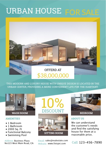 Urban House For Sale Real Estate Flyer Template Template  Fotojet