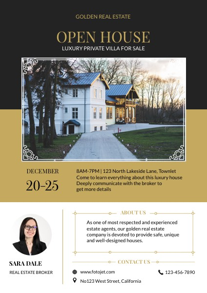 Open House for Villa Real Estate Flyer Template Template | FotoJet