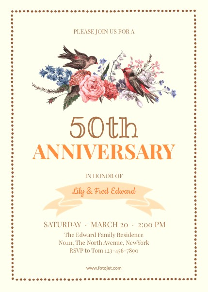 50th Wedding Anniversary Invitation Template