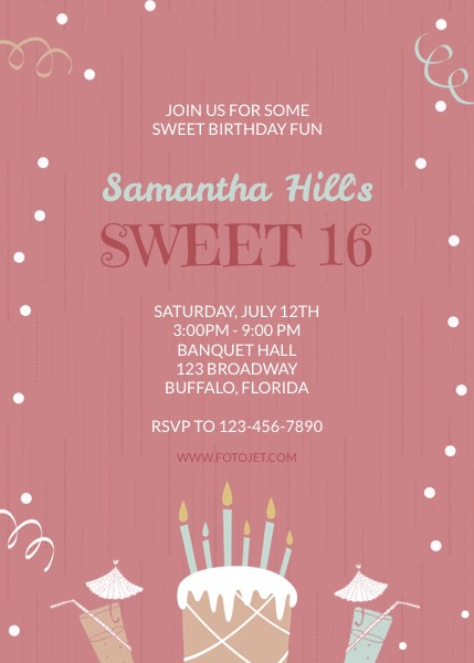 Sweet 16 Birthday Invitation 21st