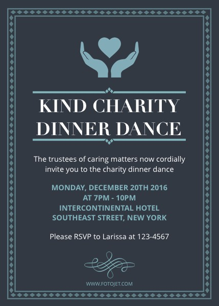 Charity Dinner And Dance Party Invitation Template  Fotojet