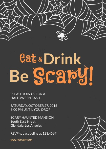 Printable Halloween Party Invitation Template | Fotojet