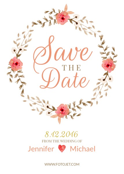 Wedding Save the Date Invitation Template | FotoJet