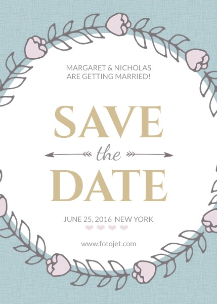 floral wedding save the date invitation template fotojet