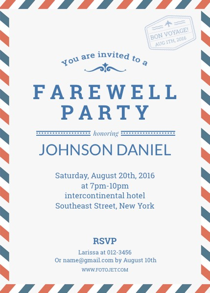 Farewell Party Invitation Template Template | Fotojet