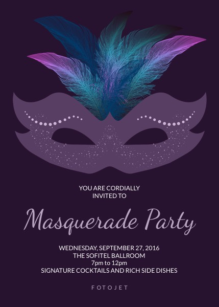 masquerade invitation template Masquerade Theme Party Invitation Template | FotoJet