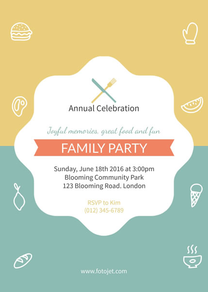 Family Reunion Party Invitation Template Template FotoJet