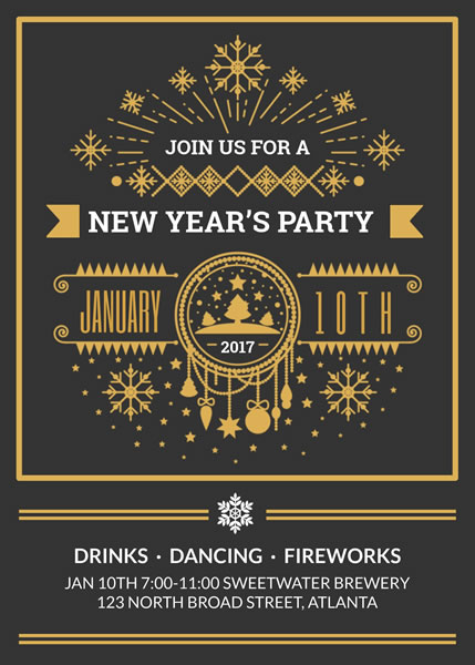 New Year Party Invitation Template Template | Fotojet