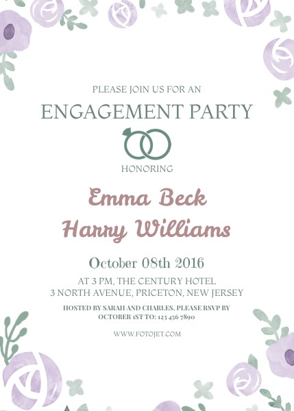 Free Engagement Invitation Templates Floral Engagement Party Invitation Template Template  Fotojet