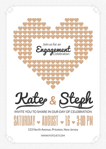 '.Heart Engagement Party Invitation Template.'
