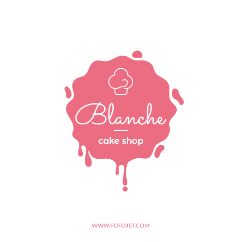 Pink Cake Shop Logo Design Template