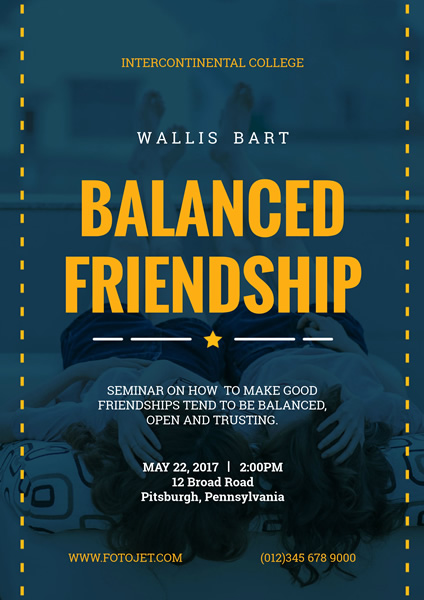 College Friendship Seminar Poster Design Template