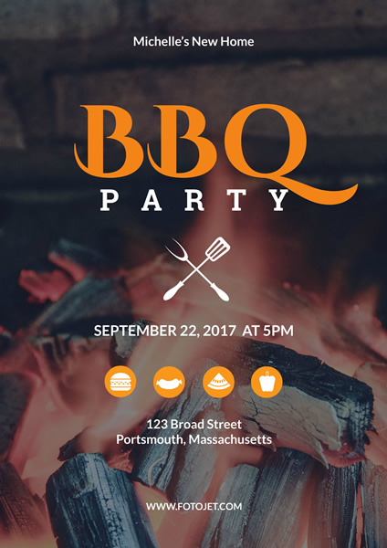 BBQ Party Poster Design Template Template | FotoJet