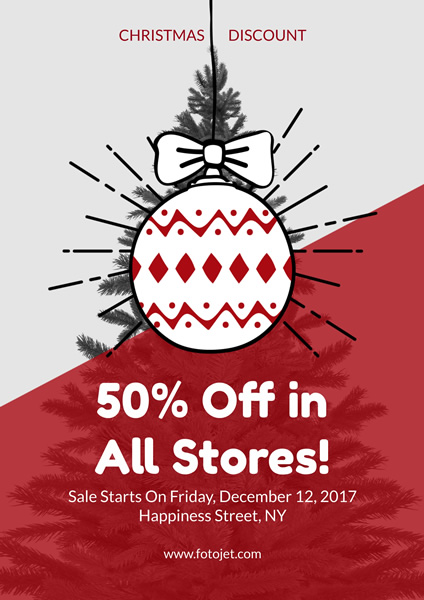 Shop Christmas Promotion Poster Design Template