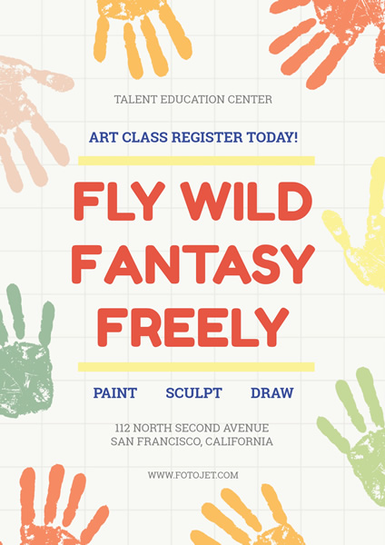 Educational Handprint Art Class Poster Template