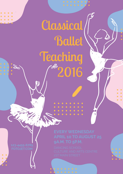 Classical Ballet Dance Teaching Poster Template