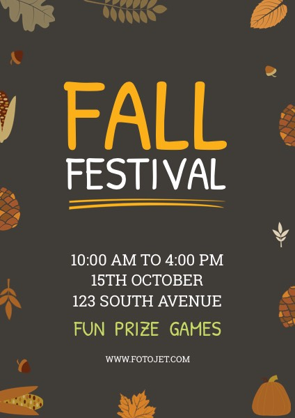 Custom Fall Festival Poster Design Template