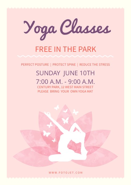 Pink Yoga Class Fitness Poster Template