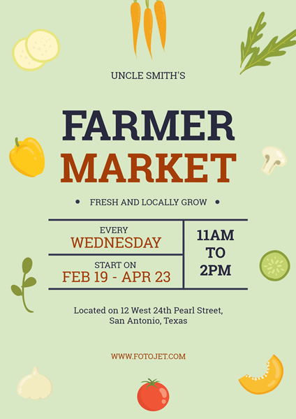 '.Farmers Market Promotion Poster Design Template.'