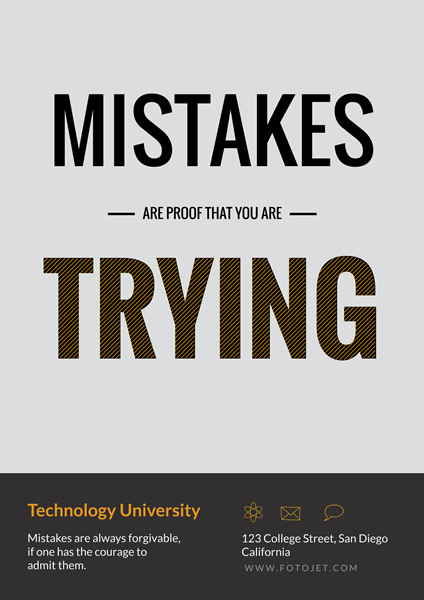 college motivational quote poster template