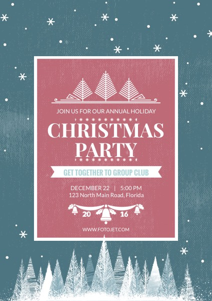 Merry Christmas Party Poster Template Template | FotoJet