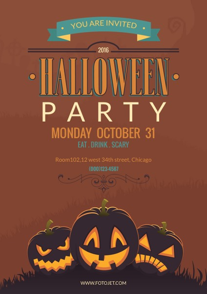 halloween party poster template template fotojet rh fotojet com halloween party posters free halloween party poster template