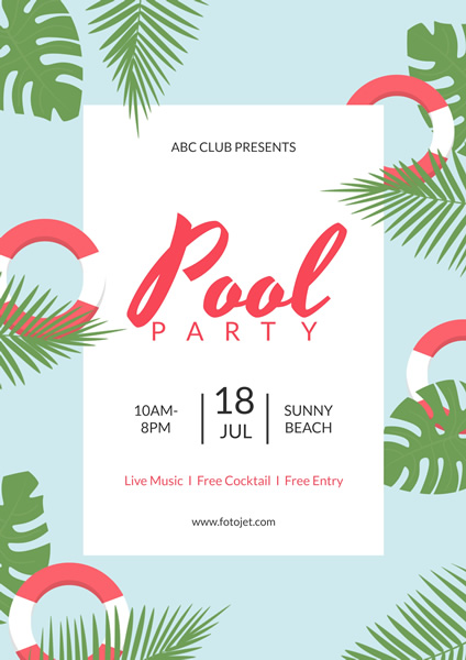 Summer Pool Party Poster Design Template