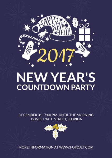 Happy New Year Party Poster Design Template Template | FotoJet