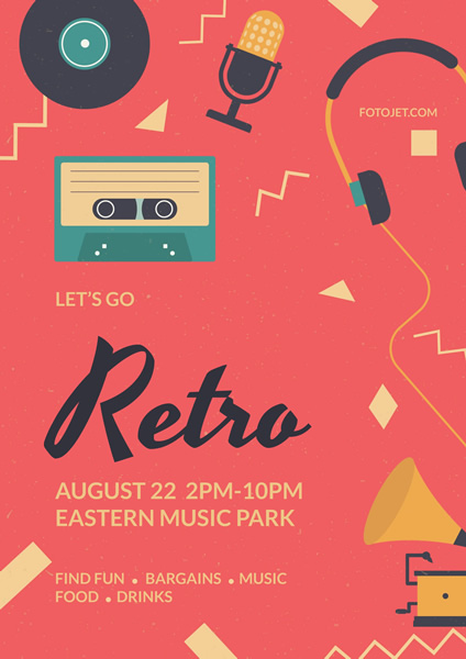 Retro Music Party Poster Template  Fun Poster Templates