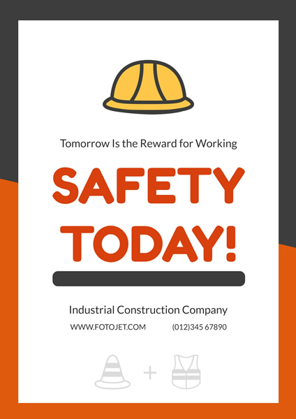 Industrial Construction Work Safety Poster Template