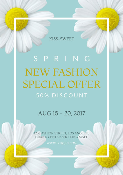 Floral Spring New Fashion Sale Poster Template