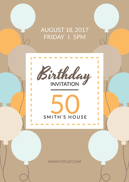 '.50Th Birthday Party Invitation Poster Design Template.'
