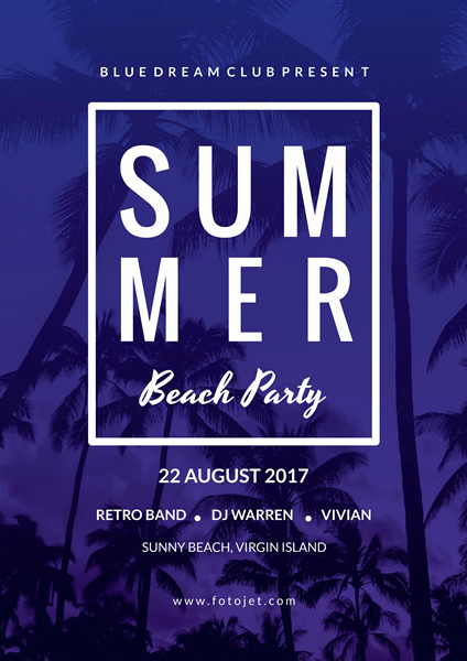 Blue Palm Summer Beach Party Poster Template