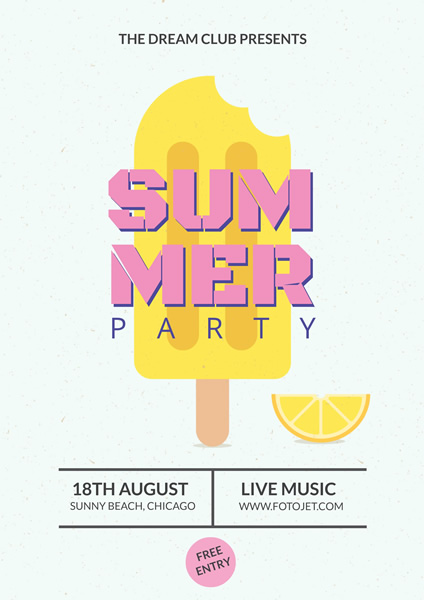 Popsicle Summer Beach Party Poster Design Template