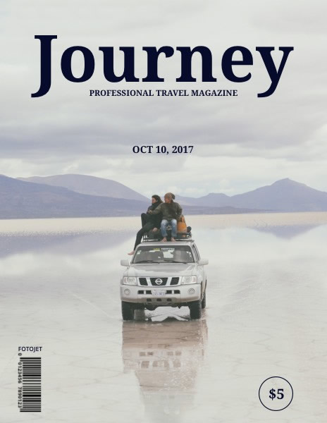 Simple Travel Journey Magazine Cover Template Template | FotoJet