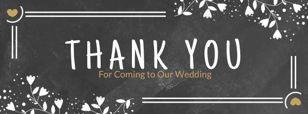 Black Wedding Thank You Facebook Cover Photo Template
